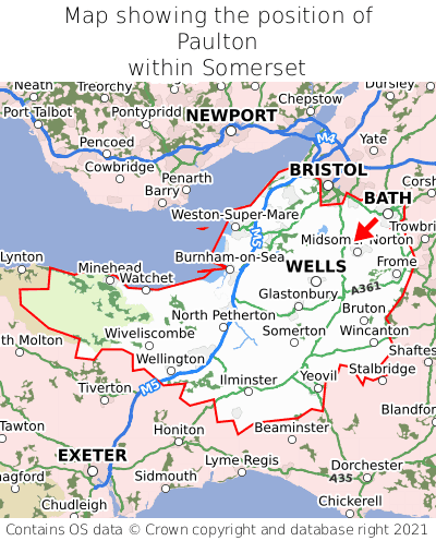 Map showing location of Paulton within Somerset