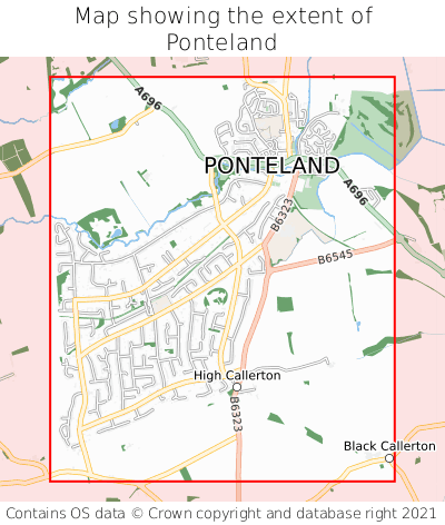 Map showing extent of Ponteland as bounding box