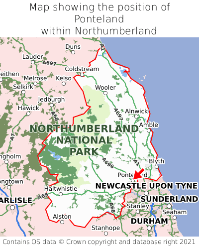 Map showing location of Ponteland within Northumberland