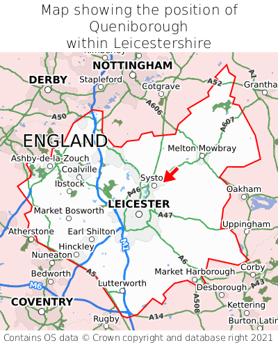 Map showing location of Queniborough within Leicestershire