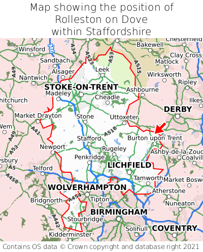 Map showing location of Rolleston on Dove within Staffordshire