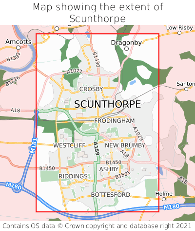 Map showing extent of Scunthorpe as bounding box
