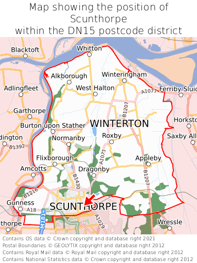 Map showing location of Scunthorpe within DN15