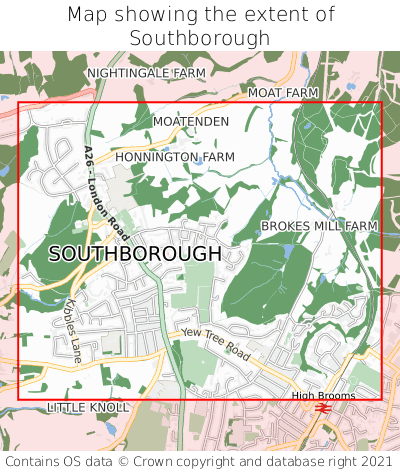 Map showing extent of Southborough as bounding box