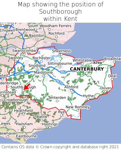 Map showing location of Southborough within Kent