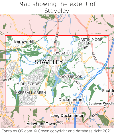 Map showing extent of Staveley as bounding box