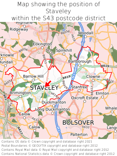 Map showing location of Staveley within S43