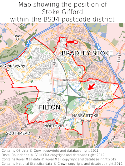 Map showing location of Stoke Gifford within BS34