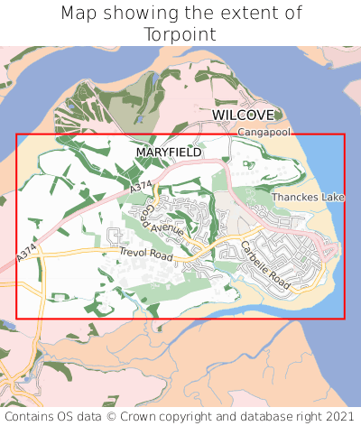Map showing extent of Torpoint as bounding box