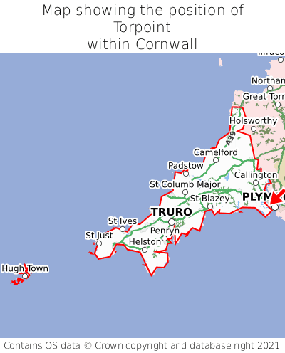Map showing location of Torpoint within Cornwall