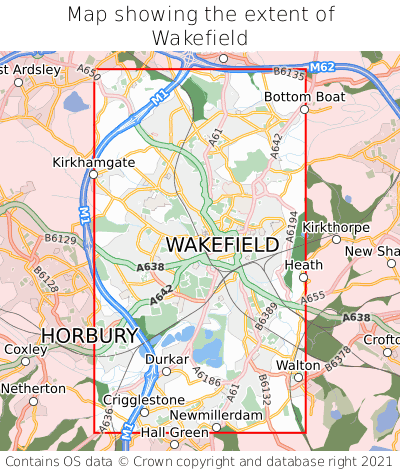 Map showing extent of Wakefield as bounding box