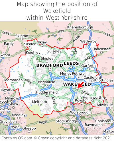 Map showing location of Wakefield within West Yorkshire