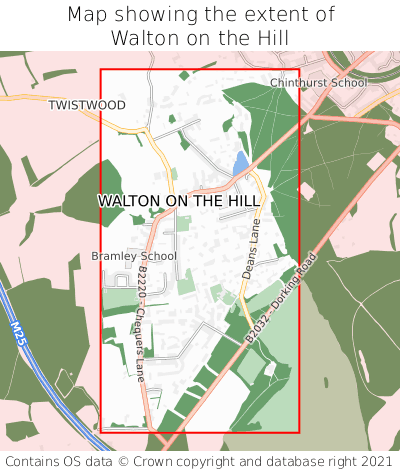 Map showing extent of Walton on the Hill as bounding box