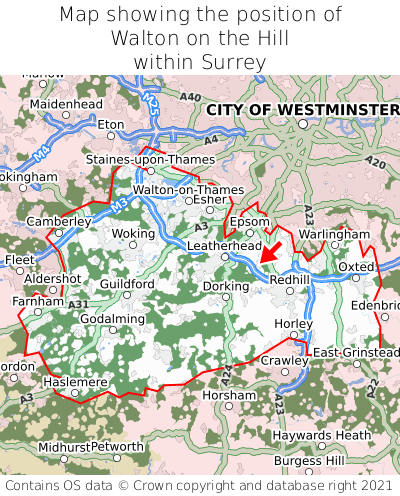 Map showing location of Walton on the Hill within Surrey