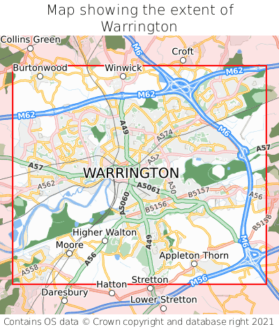 Map showing extent of Warrington as bounding box