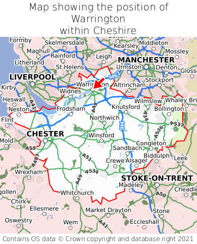 Map showing location of Warrington within Cheshire