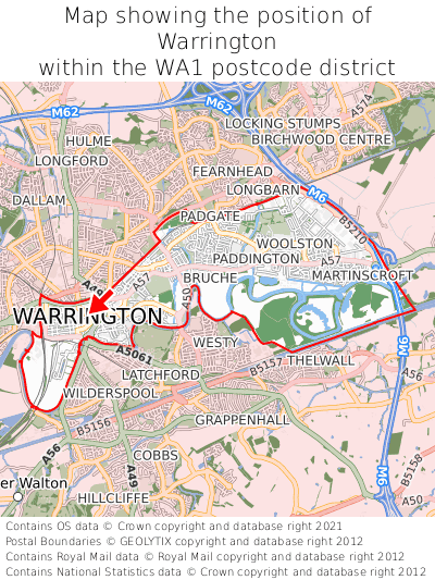 Map showing location of Warrington within WA1