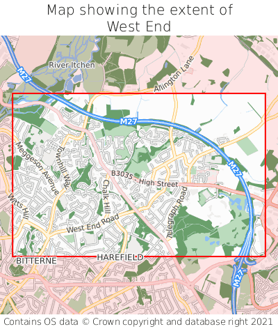 Map showing extent of West End as bounding box