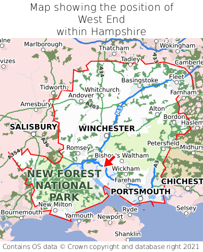 Map showing location of West End within Hampshire