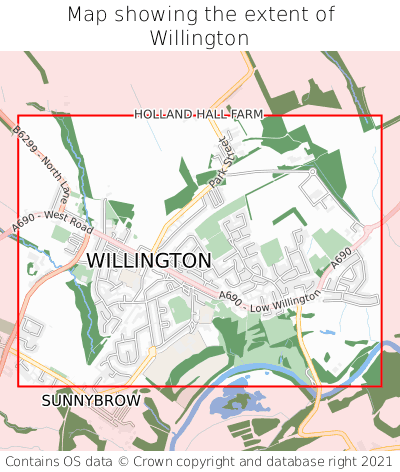 Map showing extent of Willington as bounding box