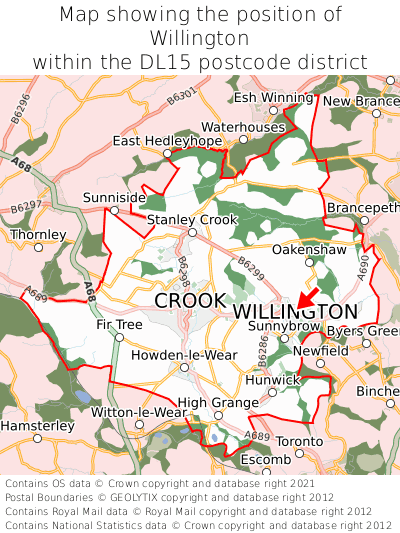 Map showing location of Willington within DL15