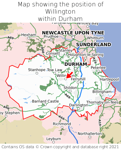 Map showing location of Willington within Durham