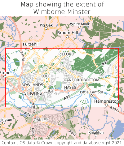 Map showing extent of Wimborne Minster as bounding box