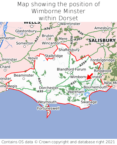 Map showing location of Wimborne Minster within Dorset