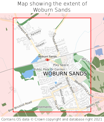 Map showing extent of Woburn Sands as bounding box