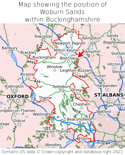 Map showing location of Woburn Sands within Buckinghamshire