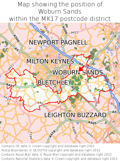 Map showing location of Woburn Sands within MK17
