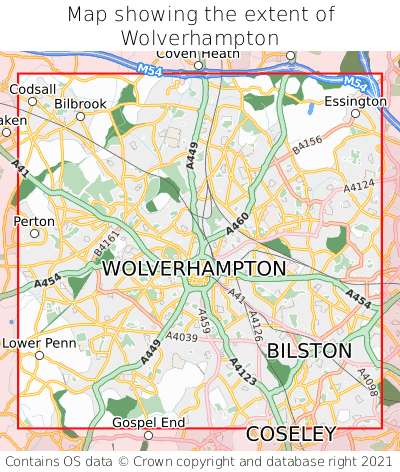 Map showing extent of Wolverhampton as bounding box
