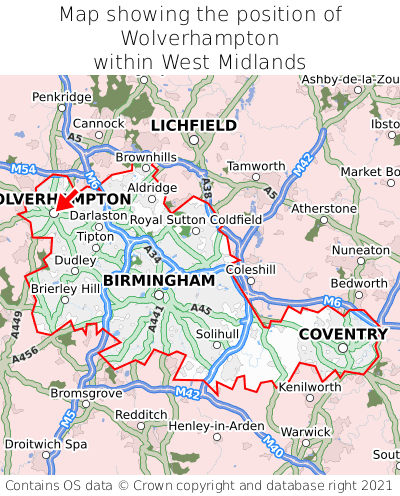 Map showing location of Wolverhampton within West Midlands