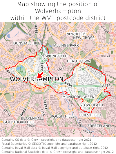 Map showing location of Wolverhampton within WV1