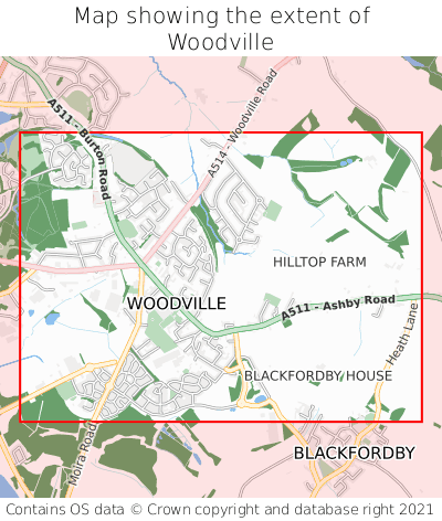 Map showing extent of Woodville as bounding box