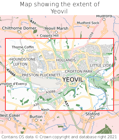 Map showing extent of Yeovil as bounding box