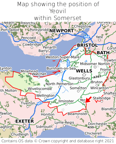 Map showing location of Yeovil within Somerset